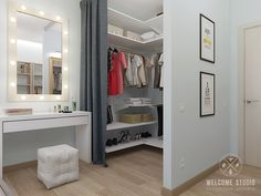 Walk in wardrobe built into corner of a room