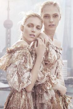 """ Anja Rubik and Sasha Pivovarova by Chen Man for Vogue China February 2016. """