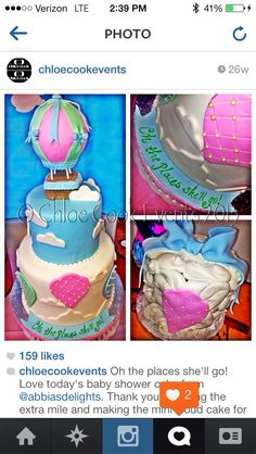 Up up and away hot air balloon baby shower cake