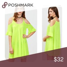 """NEW ARRIVAL 🔥Cold shoulder Ruffle cut mini dress Neon Green Cold shoulder Ruffle cut mini dress. 🌸  Medium bust 40"""" length 31.88. large bust 41.73"""" length 32.28"""". 🌸  please note that these come direct from my distributor without tags, they are shipped in a clear plastic bag… No tag. Dresses Mini"""
