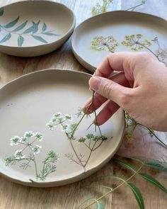 Artist Hessa Al Ajmani creates incredible floral ceramics. She presses assemblages of flowers on every handmade piece, making each one unique. Ceramic Clay, Ceramic Plates, Ceramic Pottery, Pottery Art, Ceramic Studio, Pottery Mugs, Ceramic Painting, Pottery Painting Designs, Pottery Designs