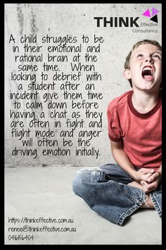 A child struggles to be in their emotional & rational brain at the same time. When engaging with a student after an incident, give them time to calm down before talking. We can use consequences as a time to determine what is going on behind the behaviour & to problem solve alternatives, but we need to give a student time to get out of their emotional brain in order to create space to reflect. If you would like to know more about strategies to improve mental health in schools head to: