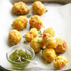 Beer-Cheese Hush Puppies Our cheesy corn-and-pepper hush puppies get their crisp, fried deliciousness from beer -- its carbonation gives the batter a flavorful, airy crunch. Finger Food Appetizers, Appetizers For Party, Appetizer Recipes, Snack Recipes, Cooking Recipes, Party Recipes, Detox Recipes, Cooking Dishes, Beer Recipes