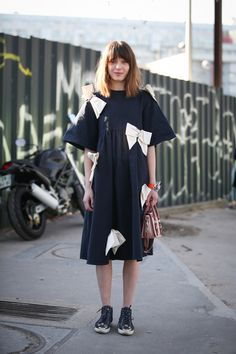 84 Outfit Ideas For Style Extroverts #refinery29  http://www.refinery29.com/2015/03/83675/paris-fashion-week-2015-street-style#slide-51  Equal parts silly and saccharine, this dress only works on those ready to commit to full-on cuteness.