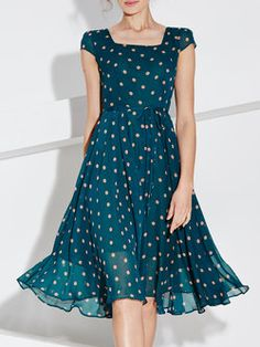 Blue Swing Short Sleeve Polka Dots Midi Dress