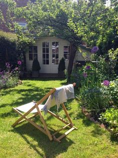 English Cottage Garden Deck Chair Summer House Farrow and Ball Roses and Rolltop. - English Cottage Garden Deck Chair Summer House Farrow and Ball Roses and Rolltop… English Cotta - Small Cottage Garden Ideas, Cottage Garden Design, Small Garden Summer House Ideas, Small Garden With Shed, Cottage Garden Borders, Small Garden Plans, Summer Houses, Small Garden Design, Small Gardens