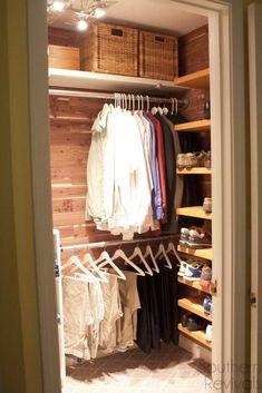Man Closet Makeover Sleek, stylish and functional man closet makeover with cedar planking, do it yourself shelving and DIY shoe rack Closet Redo, Front Closet, Men Closet, Closet Bedroom, Dresser In Closet, Hallway Closet, Master Closet, Closet Renovation, Closet Remodel