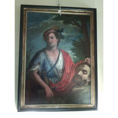 Dipinto olio su tela - Davide e Golia - '600 - Antichità S. Andrea