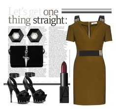 """""""She's A Maneater"""" by pixidreams ❤ liked on Polyvore featuring Thierry Mugler, Cesare Paciotti, NARS Cosmetics and Fred Leighton"""