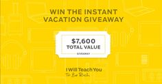 Win free airline tickets + $5k in prizes in my #InstantVacation Giveaway