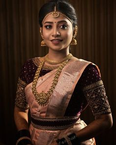 Beautiful South Indian Wedding Wear Idea :- AwesomeLifestyleFashion Different Culture have their own look and style and Kanjivaram and. Wedding Saree Blouse Designs, Half Saree Designs, Pattu Saree Blouse Designs, Fancy Blouse Designs, Designer Saree Blouses, South Indian Blouse Designs, Saree Blouse Patterns, Lehenga Blouse, Bridal Sarees South Indian