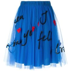 P.A.R.O.S.H. Sequin Embellished Tulle Skirt ($423) ❤ liked on Polyvore featuring skirts, юбки, blue, p.a.r.o.s.h., sequin skirt, knee length tulle skirt, blue skirt and blue sequin skirt