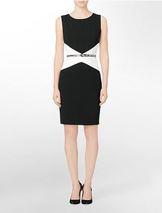 belted colorblock sleeveless sheath dress