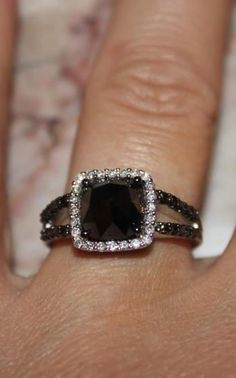 Black diamond engagement ring.