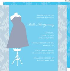 Blue Baby Bump Shower Invitations