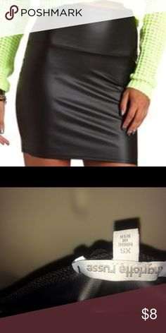 Charlotte Russe black faux leather mini skirt xs This is for a NWOT never worn black faux leather bodycon mini skirt purchased at Charlotte Russe. Retailed for $15. Poly and spandex. Very cute and sexy. Charlotte Russe Skirts Mini