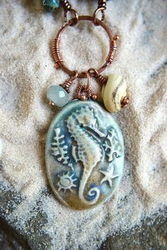 Ocean Dance Copper and Ceramic  Necklace by TheJunquerie on Etsy,