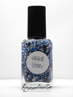 Heart Star is a nostalgic little something that is like Connect the Dots with black, white and holographic cyan hearts as well as intense turquoise shimmer and a dash of 1983.