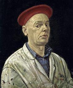 Werner Tübke zag zichzelf graag als renaissancekunstenaar, getuige zijn 'Zelfportret met rode muts' uit 1988. FOTO's Museum De Fundatie Zwolle