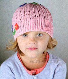 розовая шапочка с цветочками вязаная крючком