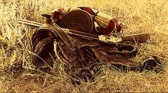 JamesBama - 1880's Still Life of Saddle and Rifle
