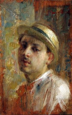 Antonio Mancini - )Man with a Hat, Date unknown, oil on panel / Private collection / The Athenaeum