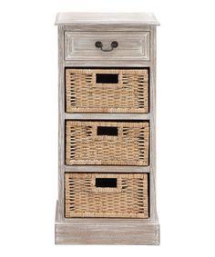 Love this Distressed Wood Basket Three-Drawer Chest on #zulily! #zulilyfinds