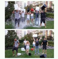 The 100 cast doing the ice bucket challenge