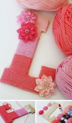 Make a Yarn Wrapped Ombre Monogrammed Letter - 35 Creative DIY Letters in Life  <3 <3