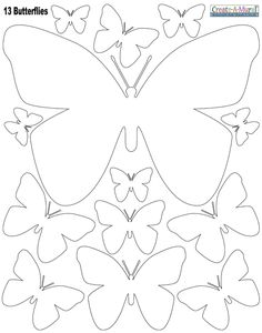 White Butterly Wall Stickers ~Instantly create a beautiful butterfly inspired room with peel & stick butterfly wall decals in white. The decals are made of vinyl, peel & stick removable wall decal appliques. sheet of peel & stick butterfly wall dec Butterfly Template, Butterfly Crafts, White Butterfly, Leaf Template, Owl Templates, Crown Template, Butterfly Mobile, Applique Templates, Applique Patterns