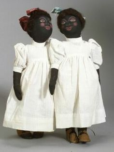 Pair of Black Cloth dolls by Magel Burgard, late 20th century