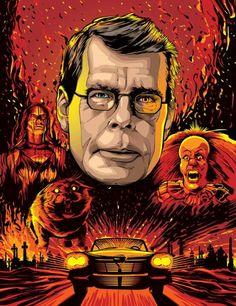 Stephen King (by Cristiano Siqueira) Revista Monet - Editora Globo (Brasil Portraits on Behance) Horror Icons, Horror Art, Scary Movies, Horror Movies, Monet, Stephen King Movies, Steven King, King Art, Portraits