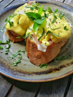Eggs Benedict with prosciutto di Parma on freshly baked baguettes.