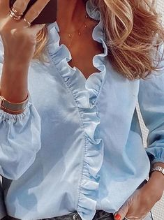 Cheap Blouses, Blouses For Women, Frill Shirt, Top Streetwear, Trend Fashion, Collar Top, Basic Tops, Loose Tops, Printed Blouse