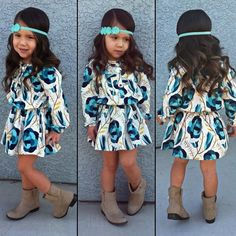 Little girl fashion, headband, dress, boots Little Girl Outfits, Cute Outfits For Kids, Little Girl Fashion, My Little Girl, My Baby Girl, Cute Kids, Baby Girls, Fashion Kids, Toddler Fashion