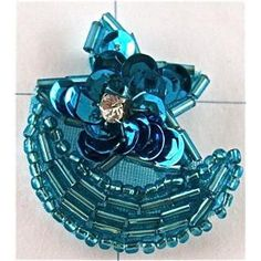 """Half Moon and Star with Rhinestone Turquoise Sequins and Beads 1.5"""" x 1.25"""""""