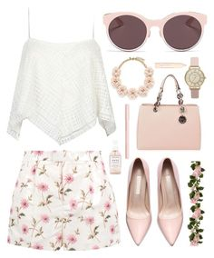 """""""Untitled #185"""" by amy-sabourin ❤ liked on Polyvore featuring Christian Dior, RED Valentino, MICHAEL Michael Kors, J.Crew, Bourjois, Herbivore Botanicals, L'Oréal Paris, floral, Pink and like"""