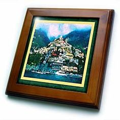 "Pausing in Positano - 8x8 Framed Tile by Susan Brown Designs. $22.99. Inset high gloss 6"" x 6"" ceramic tile.. Keyhole in the back of frame allows for easy hanging.. Cherry Finish. Dimensions: 8"" H x 8"" W x 1/2"" D. Solid wood frame. Pausing in Positano Framed Tile is 8"" x 8"" with a 6"" x 6"" high gloss inset ceramic tile, surrounded by a solid wood frame with predrilled keyhole for easy wall mounting."