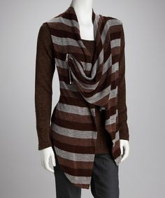 Take a look at this Panitti Brown Stripe Layered Knit Top by Kaktus, Panitti & Carducci on @zulily today!