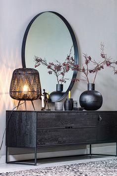 Home Design Decor, Home Interior Design, Interior Decorating, House Design, Home Decor, Decoration Inspiration, Room Inspiration, Black Round Mirror, Desgin