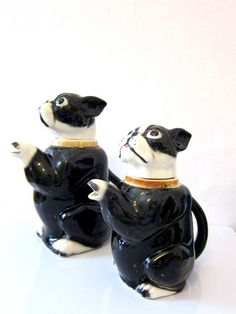 Vintage Boston Terrier Teapot Pair Handpainted by dproject