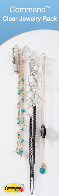 Command™ Clear Jewelry Rack helps you display and organize your jewelry
