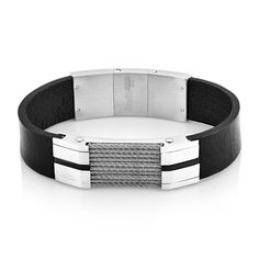 West Coast Jewelry Crucible Stainless Steel Cable Inlay ID Bracelet, Men's