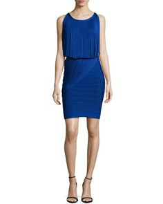 Sleeveless Fringe Bandage Dress, Blue Sapphire by Herve Leger at Neiman Marcus.