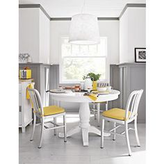 Perfect for an eat in kitchen!!!! And it extends! Avalon 45 White Extension Dining Table in Dining, Kitchen Tables | Crate and Barrel