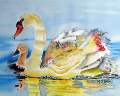 Swans: Mom and Baby Watercolor print of mother by MariaBarryArt