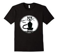 Amazon.com: Black Cat Shirt, Vintage Howling Black Cat Halloween Cat: Clothing
