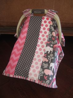 NEW Style - Baby Car Seat Covers - Zoology in Pink & Gray ---THIS ANIMAL FABRIC IS BEYOND ADORABLE>  MUST FIND!!!!!