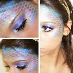 Mermaid make-up: fishnets maybe would make this design. Mermaid make-up: fishnets maybe would make this design. Makeup Fx, Artist Makeup, Makeup Blog, Eyebrow Makeup, Makeup Ideas, Halloween Make Up, Halloween Cosplay, Art Visage, Mermaid Scales