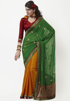 Green coloured, embroidered saree for women by Bahubali. Made from chiffon fabric, it measures 6.4 m, including a blouse piece. Get ready to look ethereally gorgeous at the next social do by presenting yourself in this beautiful green coloured saree from Bahubali.